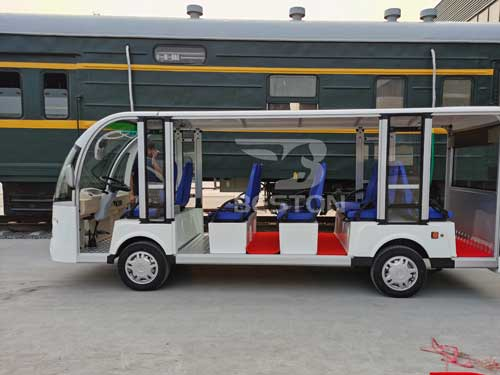 White Electric Shuttle Bus for Sale